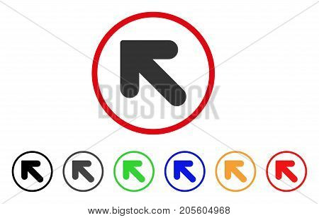 Arrow Up Left icon. Vector illustration style is a flat iconic arrow up left grey rounded symbol inside red circle with black, gray, green, blue, red, orange color additional versions.