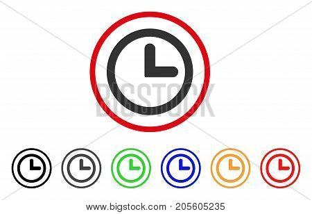 Clock icon. Vector illustration style is a flat iconic clock gray rounded symbol inside red circle with black, gray, green, blue, red, orange color versions. Designed for web and software interfaces.