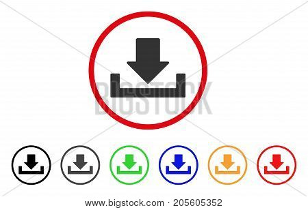 Download icon. Vector illustration style is a flat iconic download gray rounded symbol inside red circle with black, gray, green, blue, red, orange color variants.