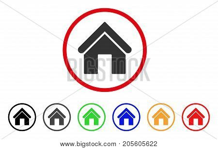 Home icon. Vector illustration style is a flat iconic home grey rounded symbol inside red circle with black, gray, green, blue, red, orange color variants. Designed for web and software interfaces.