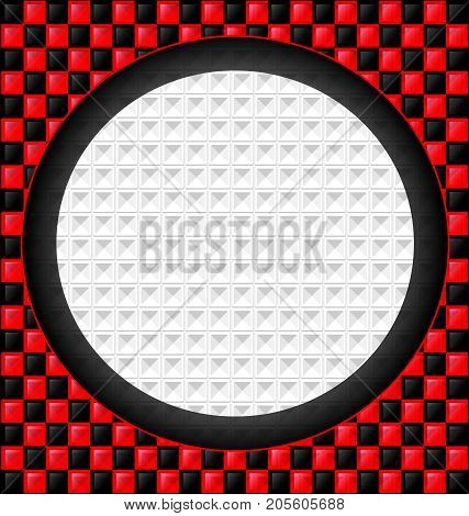 abstract colored background image consisting of lines with red, black glossy blocks and big white hole