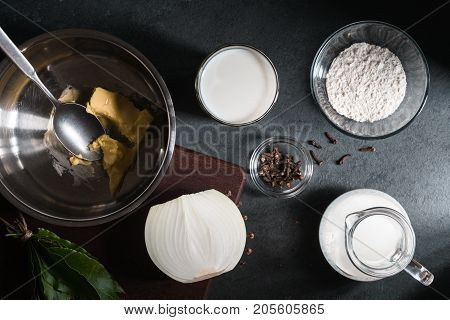 Ingredients for making cheese sauce mornay horizontal