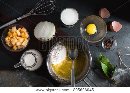 Cheese, egg and flour for cheese sauce mornay horizontal