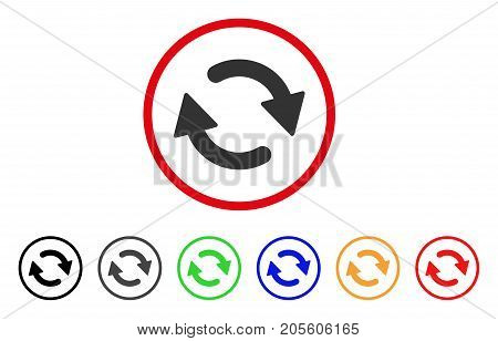 Refresh icon. Vector illustration style is a flat iconic refresh gray rounded symbol inside red circle with black, gray, green, blue, red, orange color additional versions.