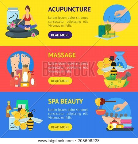 Cartoon Alternative Medicine Banner Horizontal Set Flat Style Design Elements. Vector illustration of Spa, Yoga, Aromatherapy and Apitherapy