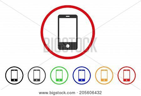 Smartphone icon. Vector illustration style is a flat iconic smartphone grey rounded symbol inside red circle with black, gray, green, blue, red, orange color versions.