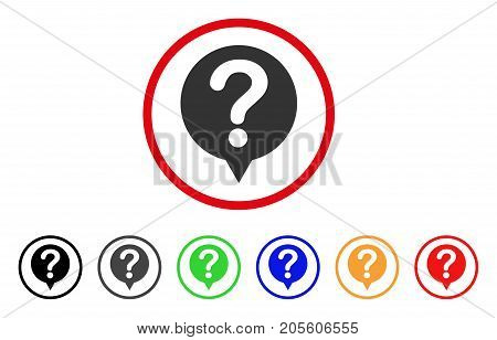 Status icon. Vector illustration style is a flat iconic status grey rounded symbol inside red circle with black, gray, green, blue, red, orange color variants.