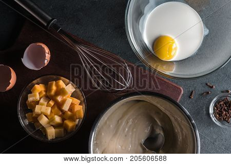 Base sauce, cheese, egg with cream, whisk for mornay sauce horizontal