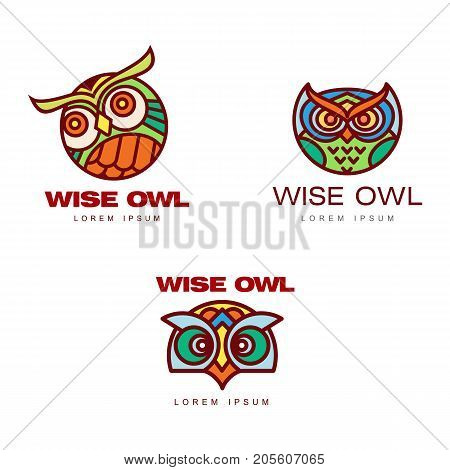 Set of logo, logotype templates with owl heads, vector illustration isolated on white background. Multicolored owl head logo, logotype, badge templates for companies, schools and colleges