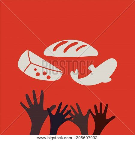 Stop Hunger, Malnutrition or Starvation vector illustration. Great as donation, relief or help icon for fight with famine and poverty in Yemen, Somalia or South Sudan. Hands and food.