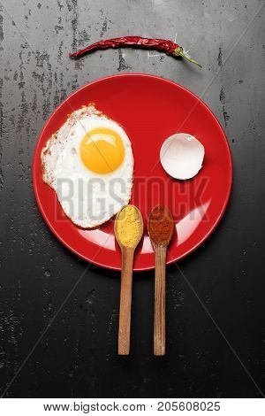 Omelet And Eggshell Make Smiling Face Image. Dish With Egg