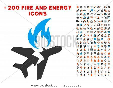 Airplane Fire Crash pictograph with bonus energy symbols. Vector illustration style is flat iconic symbols for web design, application ui.