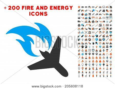 Airplane Fire Disaster icon with bonus power pictograph collection. Vector illustration style is flat iconic symbols for web design, app ui.