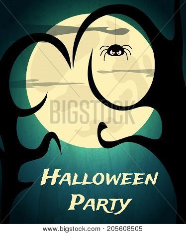 Halloween Party Background With Creepy Tree And Moon