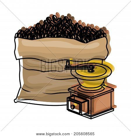 bag of coffee beans and griding with crank colorful watercolor silhouette vector illustration