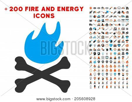 Bones Hell Fire icon with bonus flame clip art. Vector illustration style is flat iconic elements for web design, app ui.