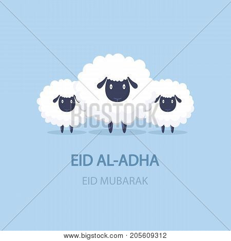 Eid mubarak. Cute cartoon sheep. Vector illustration. Blue background. Muslim holiday. Translation from Arabic: Eid al-Adha