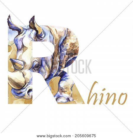 Capital letter R of watercolor rhinoceros with sand, isolated hand drawn on a white background. African animal. Wildlife alphabet. Can be printed on T-shirts, bags, posters, invitations, kids cards.