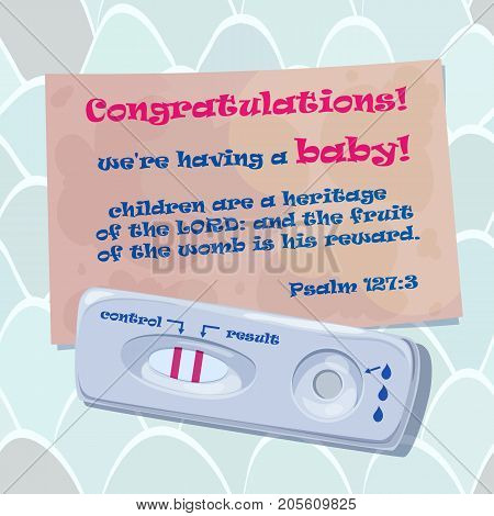 Vector illustration of congratulation of dad with the onset of pregnancy. Pregnancy Announcement. New Dad Card. Pregnancy Reveal Card