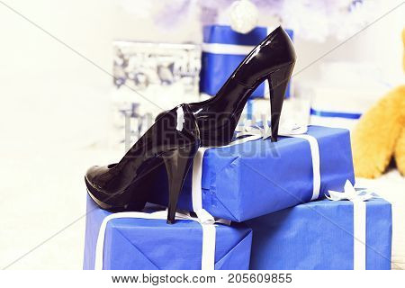 Leather Shoes On Blue Gifts