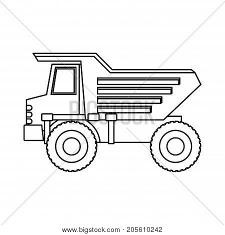 dump truck flat icon monochrome silhouette vector illustration