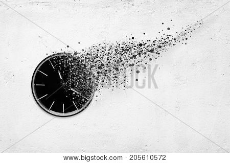 3d illustration of classic clock on white concrete background disintegrate in a small parts and flying away. Time flying concept