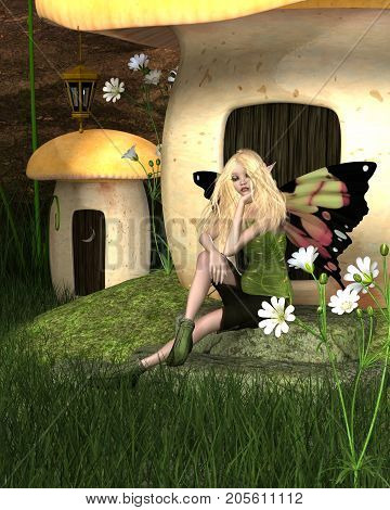 Fantasy illustration of a pretty blonde fairy with butterfly wings sitting outside a toadstool house in the forest, digital illustration (3d rendering)