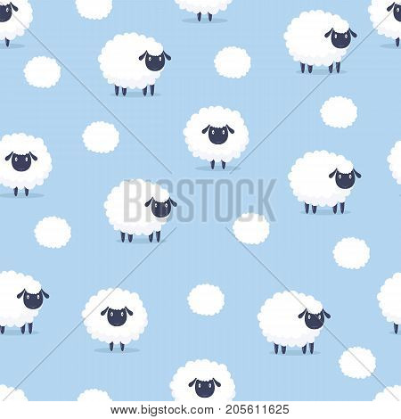 Sheep. Seamless Pattern. Vector Illustration. Cartoon Sheep Background.