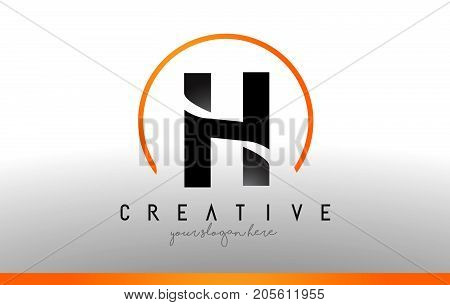 H Letter Logo Design With Black Orange Color. Cool Modern Icon Template.