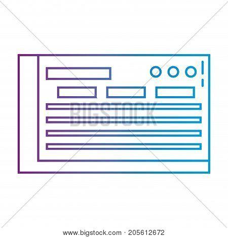 line bank check to finance economy icon vector illustration