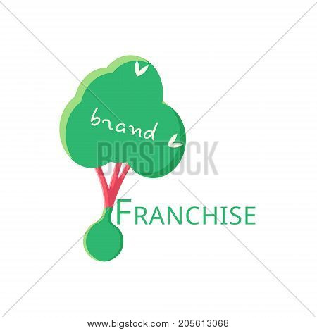 Vector logo franchise flat design. The tree is ready for planting.