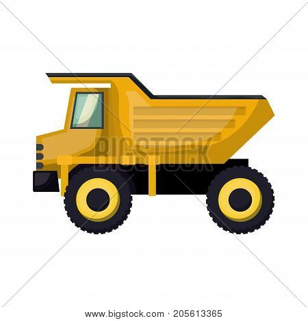 dump truck flat icon colorful silhouette with half shadow vector illustration