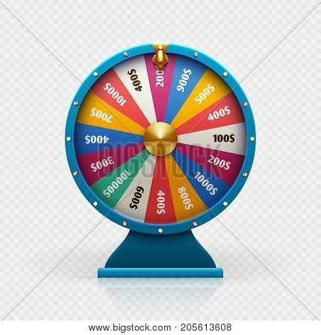 Roulette 3d fortune wheel isolated vector illustration for gambling background and lottery win concept. Wheel fortune for game and win jackpot