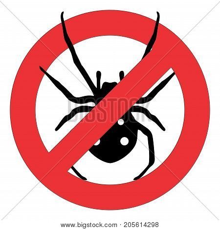 Forbidden sign with a black spider on white