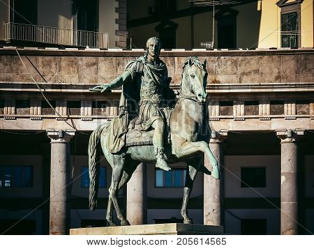 piazza del Plebiscito monument to Charles III of Spain Naples, Italy