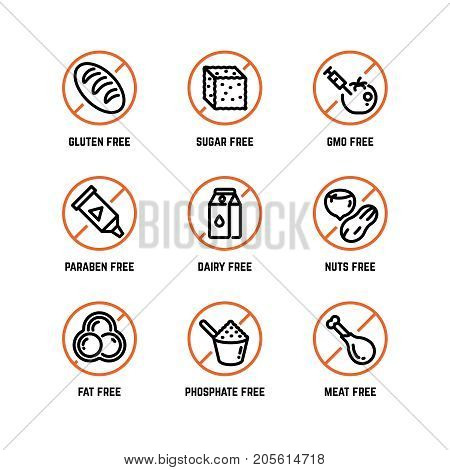 Food ingredient warning vector icons. Phosphate free, without gmo, no gluten organic product symbols. Forbidden sugar and gluten, phosphate and dairy illustration