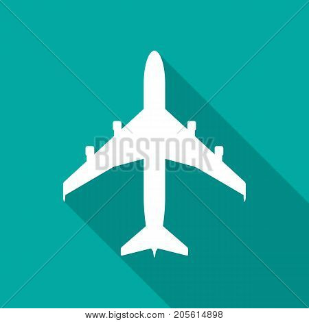 Airplane icon with long shadow. Flat design style. Airplane simple silhouette. Modern minimalist icon in stylish colors. Web site page and mobile app design vector element.