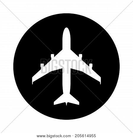 Airplane circle icon. Black round minimalist icon isolated on white background. Airplane simple silhouette. Web site page and mobile app design vector element.
