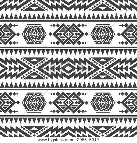 poster of American aztec vector seamless texture. Native tribal indian repetitive pattern. Seamless mexican navajo geometric pattern illustration