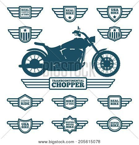 Sport motorbike silhouette and vintage wing labels. Bikers ride retro winged logos vector set. Motorbike emblem with wings illustration