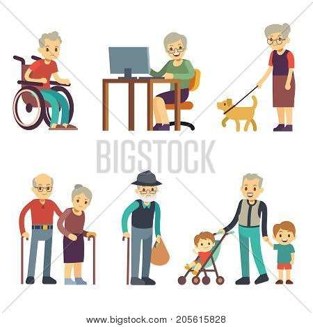 Old age people in different situations. Senior man and woman activities vector set. Old grandmother and grandfather walking illustration