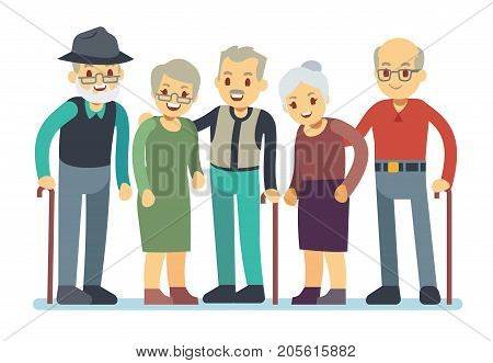 Group of old people cartoon characters. Happy elderly friends vector illustration. Grandmother and grandfather friends retirement