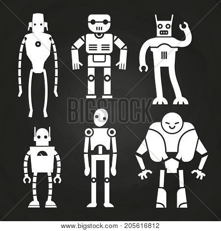 White robots and cyborgs on chalkboard. Robot machine cyborg white silhouette. Vector illustration