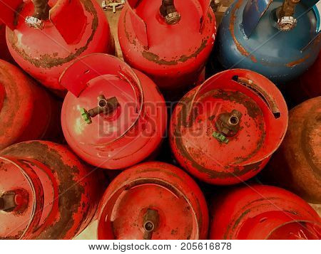 Rust orange and blue LPG or propane tank