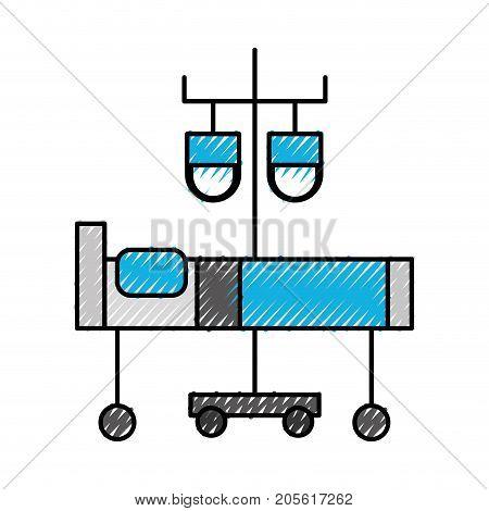 hospital medical bed and iv stand bag medicine vector illustration