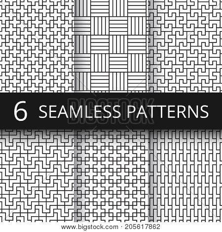 Geometric seamless vector patterns set. Modern line repeat graphics with simple geometrical shapes. Geometric line seamless pattern collection illustration