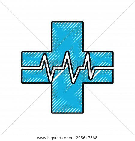 medical cross with heart beat healthy vector illustration