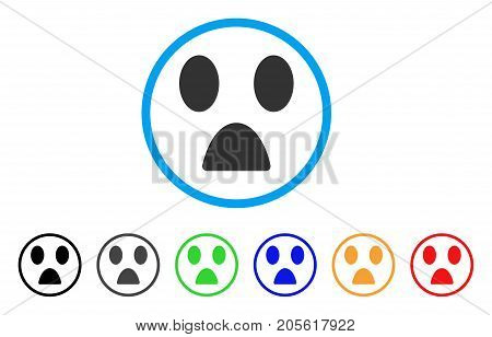 Fear Smile rounded icon. Style is a flat fear smile gray symbol inside light blue circle with black, gray, green, blue, red, orange versions. Vector designed for web and software interfaces.