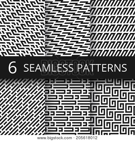 Funky line geometric vector seamless patterns. Striped repeat vector textures with optical illusion effect. Illustration of pattern geometric psychedelic structure monochrome