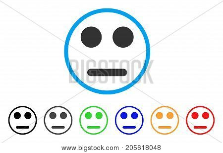 Indifferent Smile rounded icon. Style is a flat indifferent smile grey symbol inside light blue circle with black, gray, green, blue, red, orange color versions.